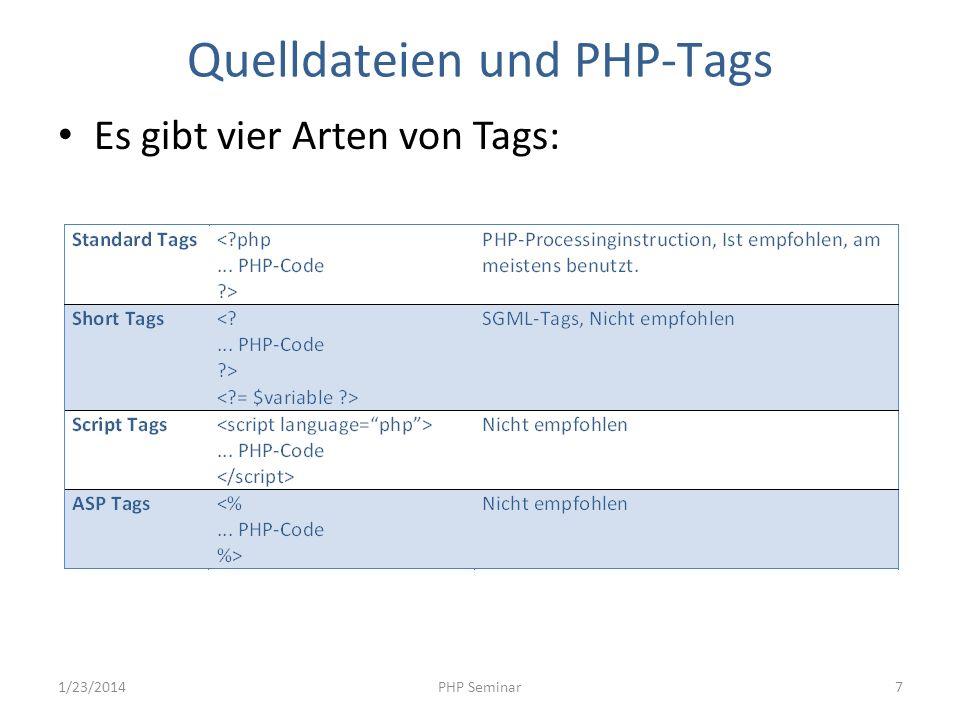Kommentare Es gibt vier Arten von Kommentaren: // Single line comment # Single line comment /* Multi-line Comment */ /** * API Documentation Example * * @param string $bar */ function foo($bar) { } 1/23/2014PHP Seminar8