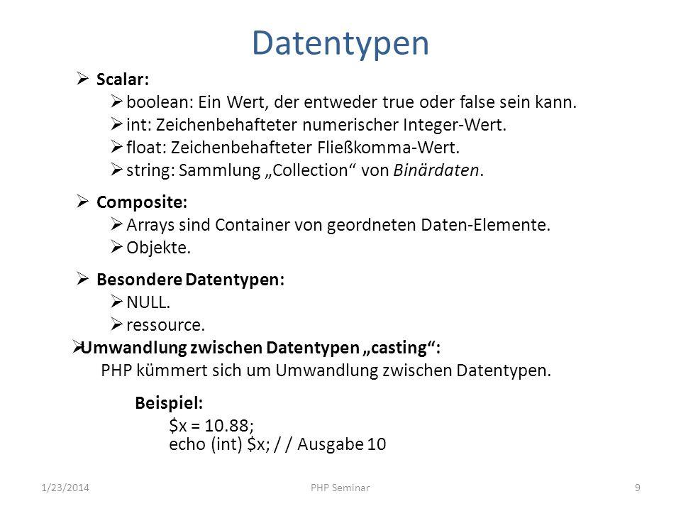 Datentypen Scalar: boolean: Ein Wert, der entweder true oder false sein kann. int: Zeichenbehafteter numerischer Integer-Wert. float: Zeichenbehaftete
