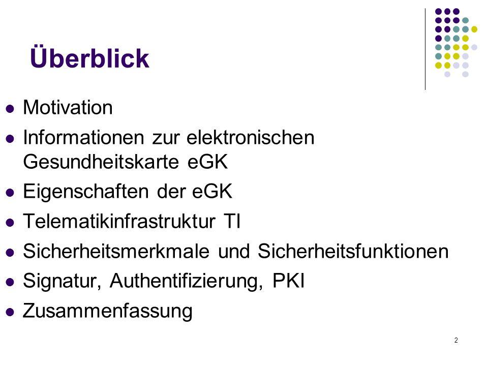 2 Überblick Motivation Informationen zur elektronischen Gesundheitskarte eGK Eigenschaften der eGK Telematikinfrastruktur TI Sicherheitsmerkmale und Sicherheitsfunktionen Signatur, Authentifizierung, PKI Zusammenfassung