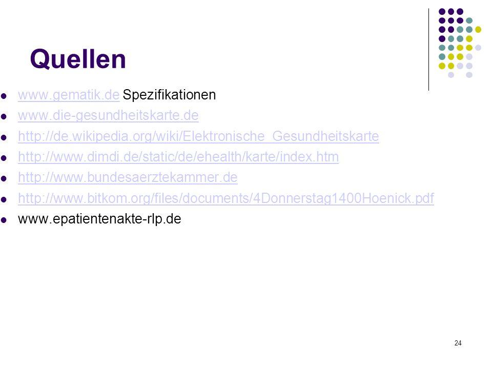24 Quellen www.gematik.de Spezifikationen www.gematik.de www.die-gesundheitskarte.de http://de.wikipedia.org/wiki/Elektronische_Gesundheitskarte http://www.dimdi.de/static/de/ehealth/karte/index.htm http://www.bundesaerztekammer.de http://www.bitkom.org/files/documents/4Donnerstag1400Hoenick.pdf www.epatientenakte-rlp.de