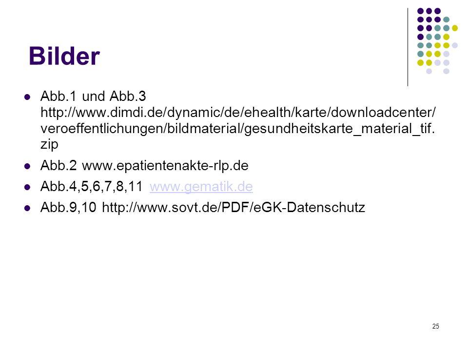 25 Bilder Abb.1 und Abb.3 http://www.dimdi.de/dynamic/de/ehealth/karte/downloadcenter/ veroeffentlichungen/bildmaterial/gesundheitskarte_material_tif.
