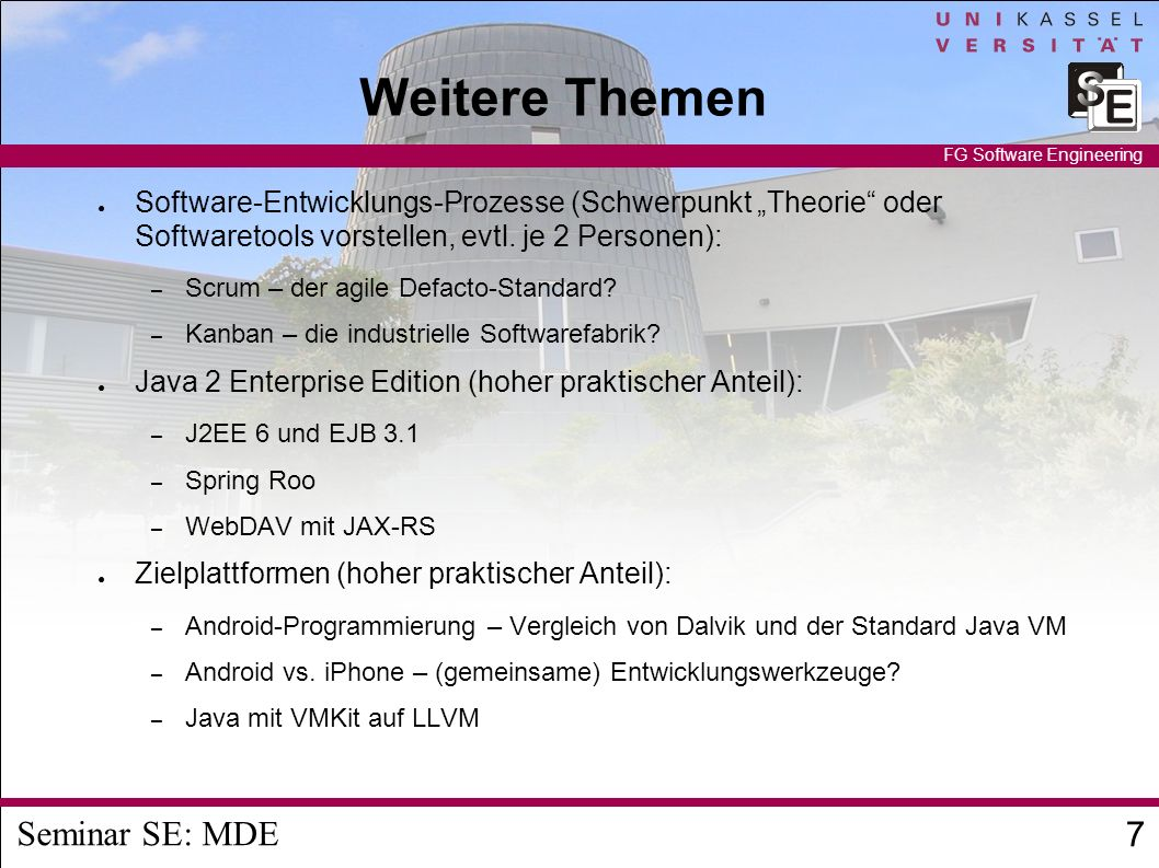 Seminar SE: MDE 8 FG Software Engineering Weitere Themen GWT-3D und HTML5 Blender Game Engine in Blender 2.5 Open Collada Processing