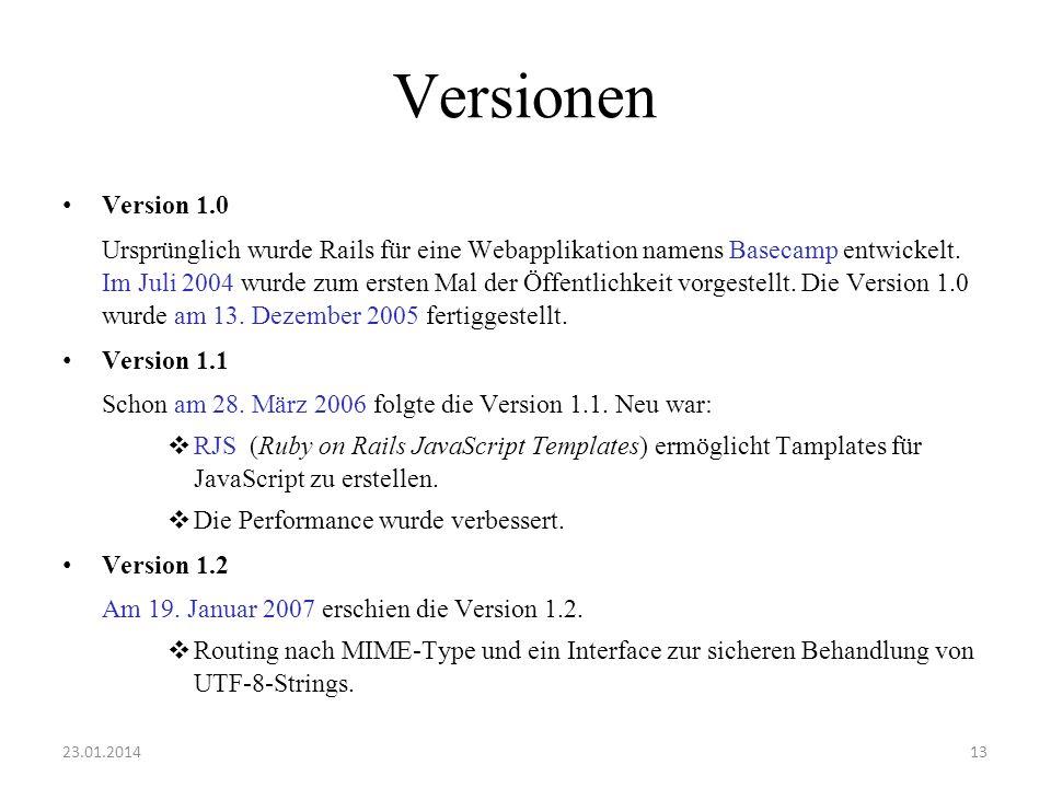 Versionen Version 1.0 Ursprünglich wurde Rails für eine Webapplikation namens Basecamp entwickelt. Im Juli 2004 wurde zum ersten Mal der Öffentlichkei