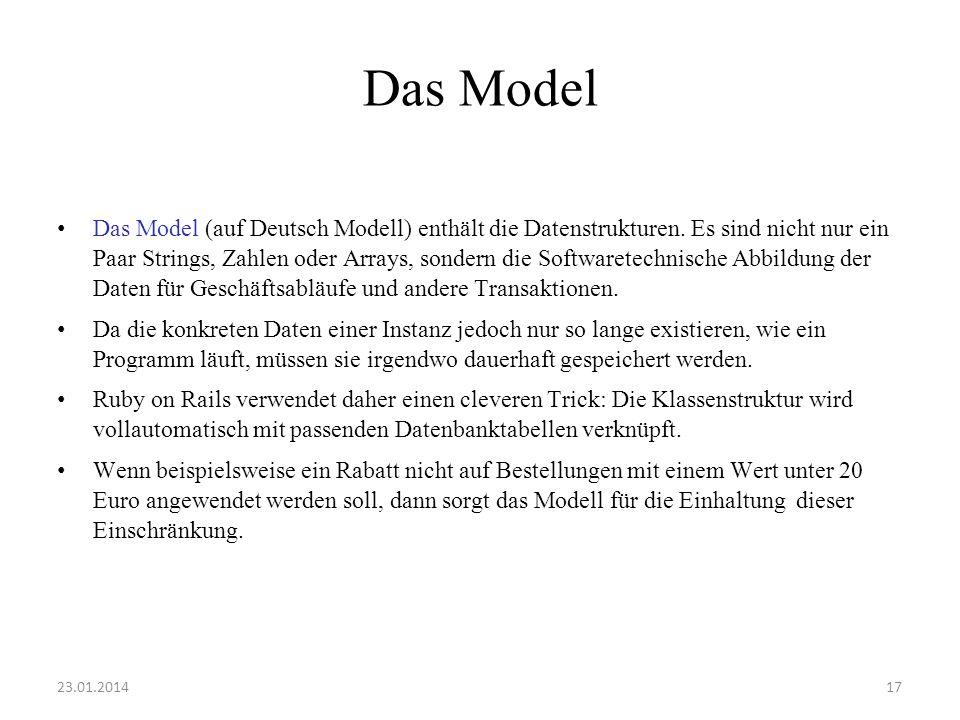 Das Model Das Model (auf Deutsch Modell) enthält die Datenstrukturen. Es sind nicht nur ein Paar Strings, Zahlen oder Arrays, sondern die Softwaretech