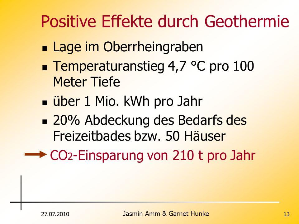27.07.2010 Jasmin Amm & Garnet Hunke 13 Positive Effekte durch Geothermie Lage im Oberrheingraben Temperaturanstieg 4,7 °C pro 100 Meter Tiefe über 1