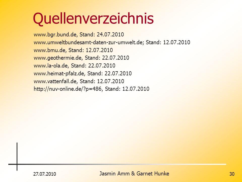 27.07.2010 Jasmin Amm & Garnet Hunke 30 Quellenverzeichnis www.bgr.bund.de, Stand: 24.07.2010 www.umweltbundesamt-daten-zur-umwelt.de; Stand: 12.07.20