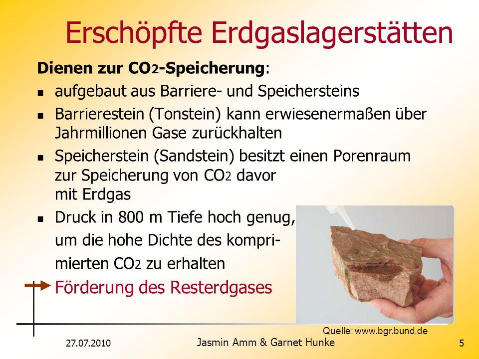 27.07.2010 Jasmin Amm & Garnet Hunke 5 Erschöpfte Erdgaslagerstätten Dienen zur CO 2 -Speicherung: aufgebaut aus Barriere- und Speichersteins Barriere