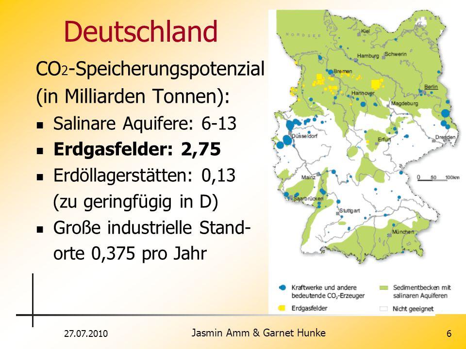 27.07.2010 Jasmin Amm & Garnet Hunke 6 Deutschland CO 2 -Speicherungspotenzial (in Milliarden Tonnen): Salinare Aquifere: 6-13 Erdgasfelder: 2,75 Erdö