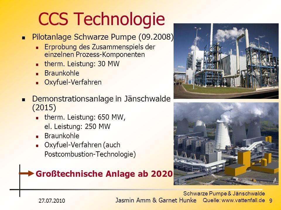 27.07.2010 Jasmin Amm & Garnet Hunke 9 CCS Technologie Pilotanlage Schwarze Pumpe (09.2008) Erprobung des Zusammenspiels der einzelnen Prozess-Kompone