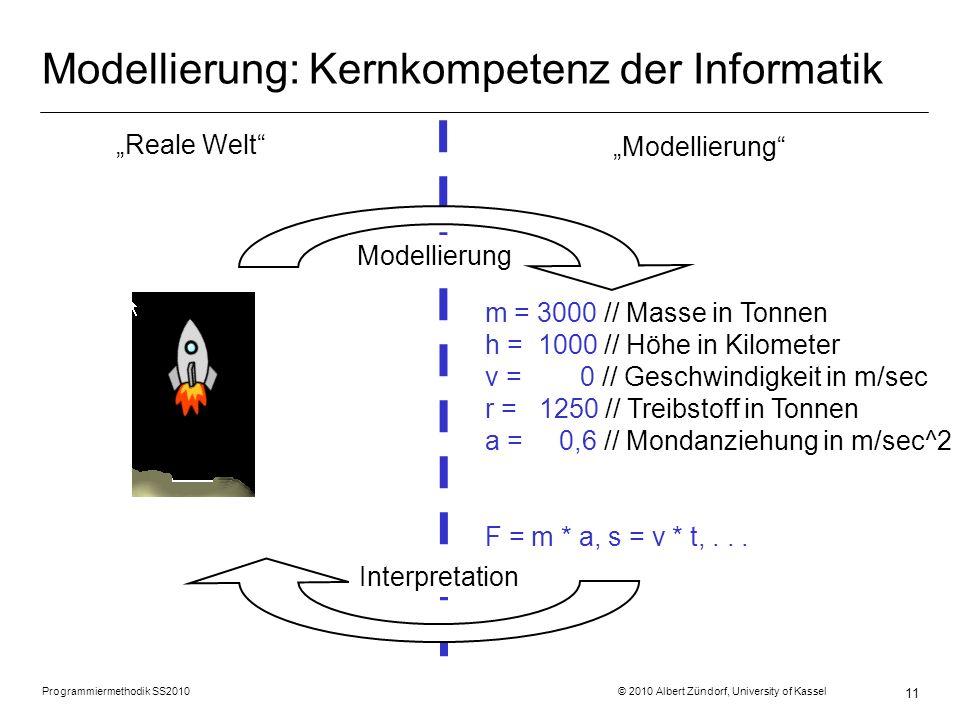 Programmiermethodik SS2010 © 2010 Albert Zündorf, University of Kassel 11 Modellierung: Kernkompetenz der Informatik Modellierung m = 3000 // Masse in Tonnen h = 1000 // Höhe in Kilometer v = 0 // Geschwindigkeit in m/sec r = 1250 // Treibstoff in Tonnen a = 0,6 // Mondanziehung in m/sec^2 F = m * a, s = v * t,...