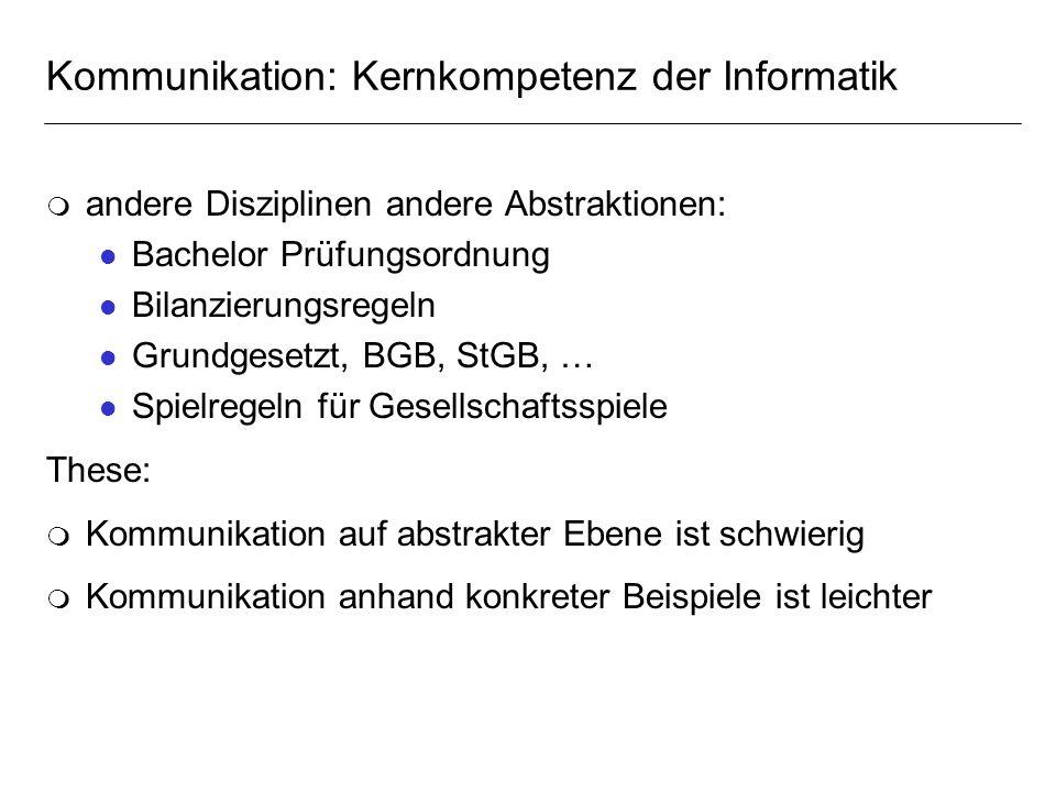 Kommunikation: Kernkompetenz der Informatik m andere Disziplinen andere Abstraktionen: l Bachelor Prüfungsordnung l Bilanzierungsregeln l Grundgesetzt