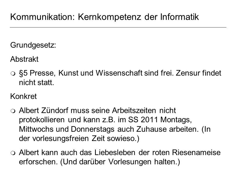 Kommunikation: Kernkompetenz der Informatik Grundgesetz: Abstrakt m §5 Presse, Kunst und Wissenschaft sind frei. Zensur findet nicht statt. Konkret m