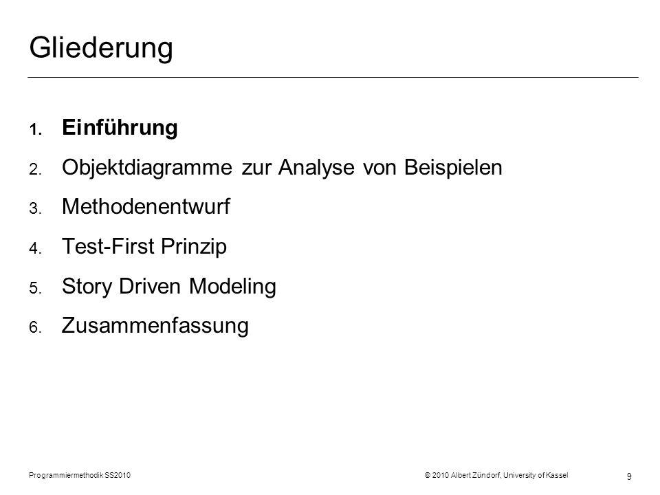 9 Gliederung 1. Einführung 2. Objektdiagramme zur Analyse von Beispielen 3. Methodenentwurf 4. Test-First Prinzip 5. Story Driven Modeling 6. Zusammen
