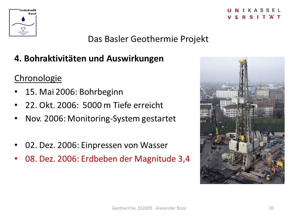 Das Basler Geothermie Projekt Geothermie, SS2009 - Alexander Boos 4. Bohraktivitäten und Auswirkungen Chronologie 15. Mai 2006: Bohrbeginn 22. Okt. 20