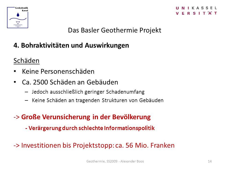 Das Basler Geothermie Projekt Geothermie, SS2009 - Alexander Boos 4. Bohraktivitäten und Auswirkungen Schäden Keine Personenschäden Ca. 2500 Schäden a