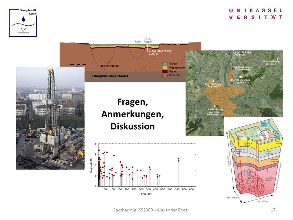 Fragen, Anmerkungen, Diskussion Geothermie, SS2009 - Alexander Boos17