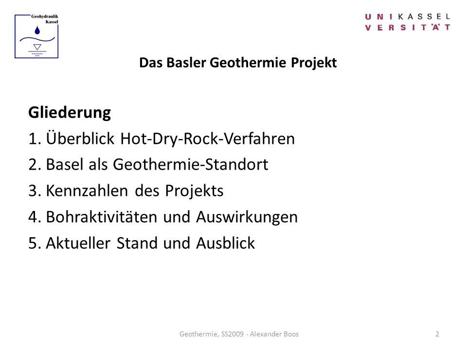 Das Basler Geothermie Projekt Gliederung 1.Überblick Hot-Dry-Rock-Verfahren 2.Basel als Geothermie-Standort 3.Kennzahlen des Projekts 4.Bohraktivitäte