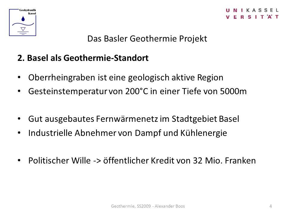 Das Basler Geothermie Projekt Geothermie, SS2009 - Alexander Boos 2. Basel als Geothermie-Standort Oberrheingraben ist eine geologisch aktive Region G