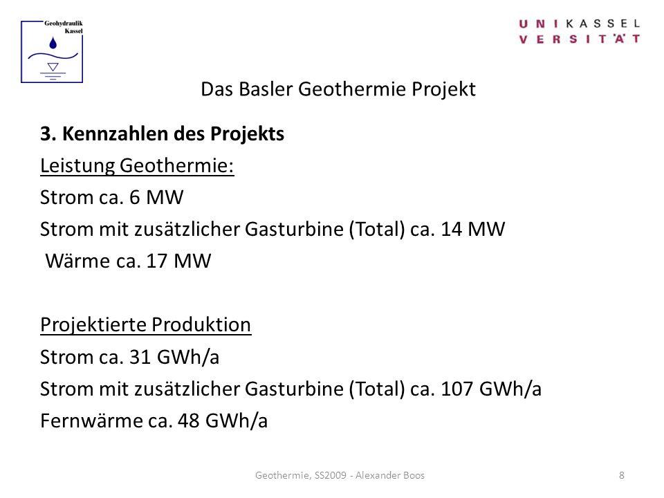 Das Basler Geothermie Projekt Geothermie, SS2009 - Alexander Boos 3. Kennzahlen des Projekts Leistung Geothermie: Strom ca. 6 MW Strom mit zusätzliche