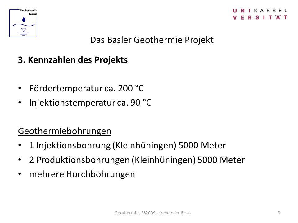 Das Basler Geothermie Projekt Geothermie, SS2009 - Alexander Boos 3. Kennzahlen des Projekts Fördertemperatur ca. 200 °C Injektionstemperatur ca. 90 °
