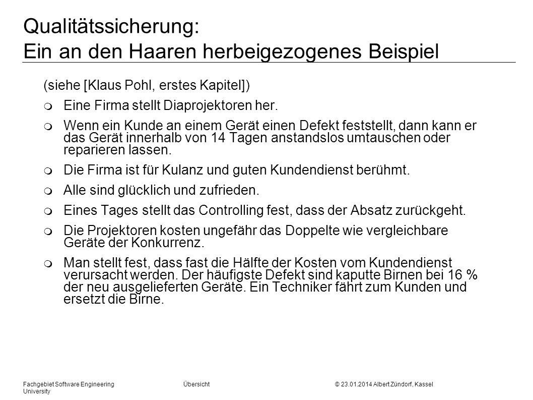 Fachgebiet Software Engineering Übersicht © 23.01.2014 Albert Zündorf, Kassel University Qualitätssicherung: Ein an den Haaren herbeigezogenes Beispie