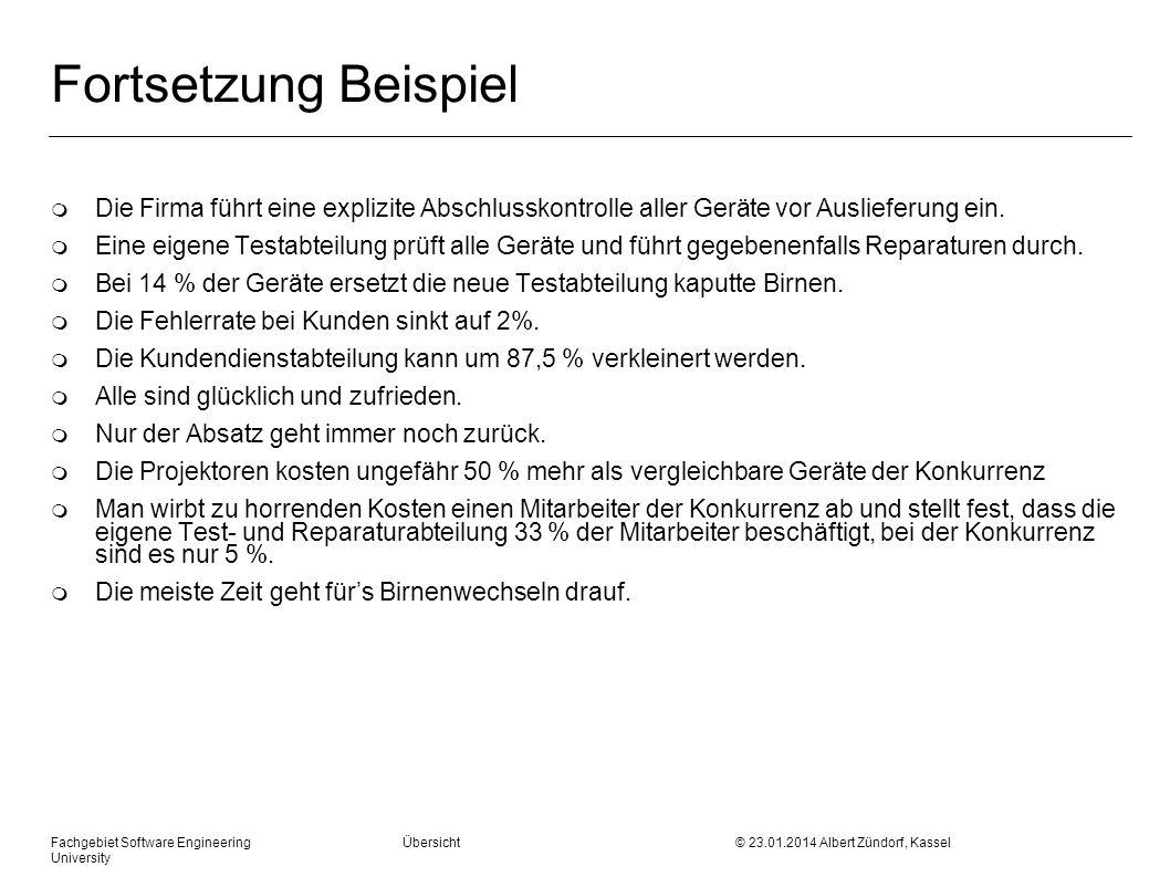 Fachgebiet Software Engineering Übersicht © 23.01.2014 Albert Zündorf, Kassel University Fortsetzung Beispiel m Die Firma führt eine explizite Abschlu