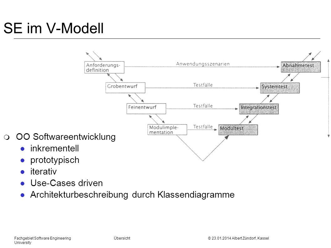 Fachgebiet Software Engineering Übersicht © 23.01.2014 Albert Zündorf, Kassel University SE im V-Modell m OO Softwareentwicklung l inkrementell l prot