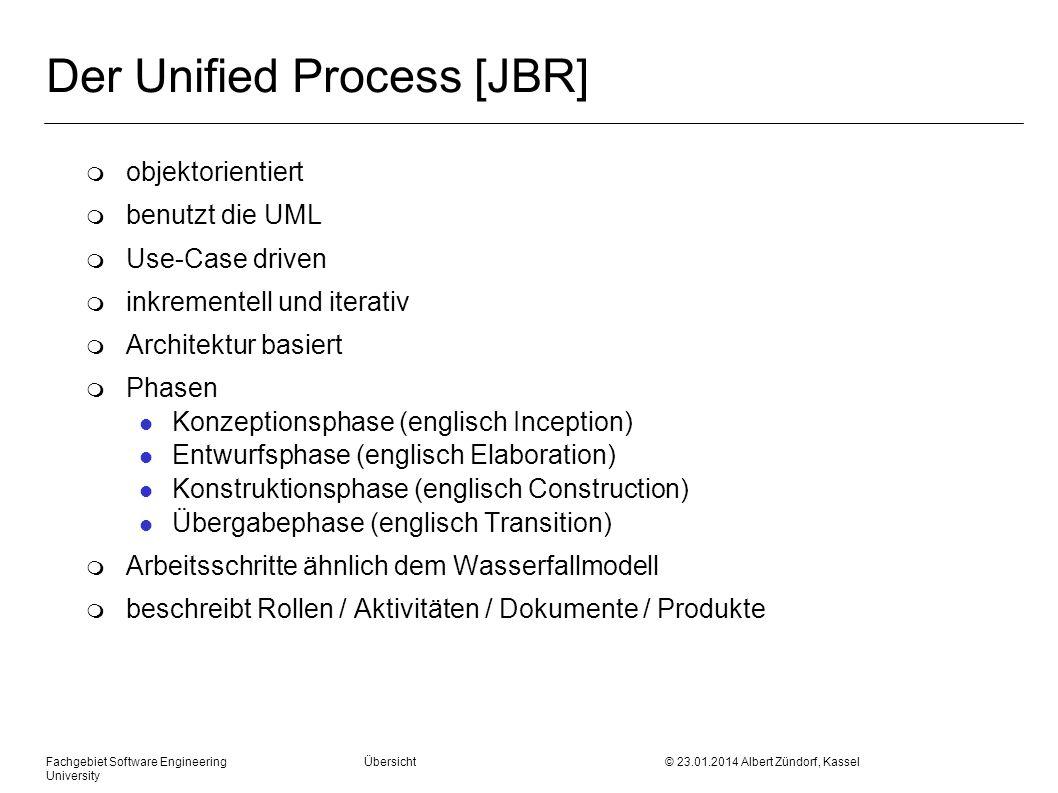 Fachgebiet Software Engineering Übersicht © 23.01.2014 Albert Zündorf, Kassel University Der Unified Process [JBR] m objektorientiert m benutzt die UM