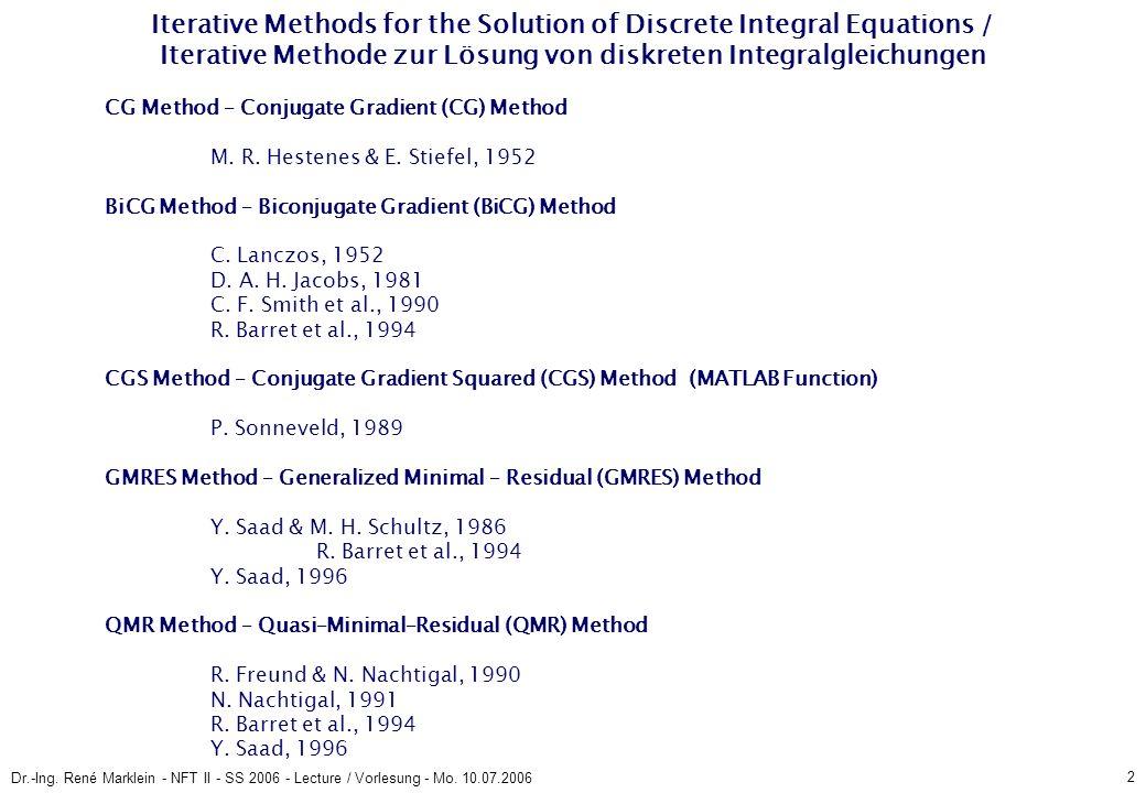 13 Dr.-Ing.René Marklein - NFT II - SS 2006 - Lecture / Vorlesung - Mo.
