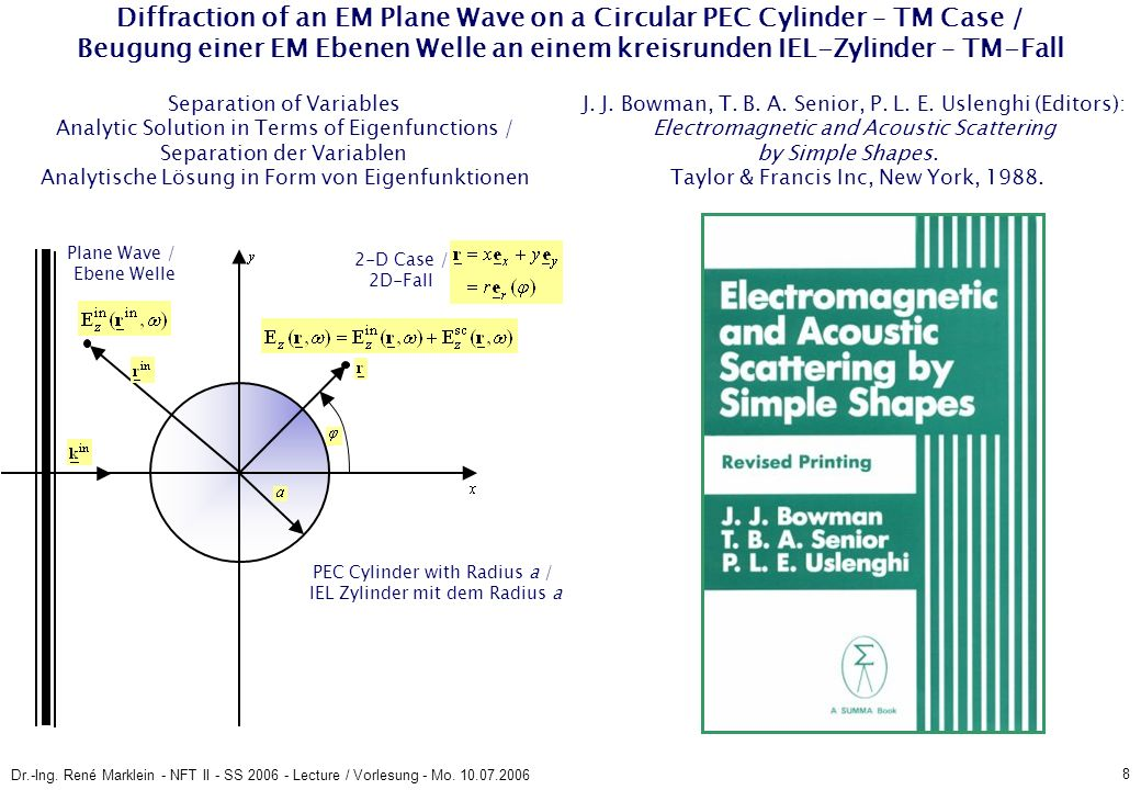 8 Dr.-Ing. René Marklein - NFT II - SS 2006 - Lecture / Vorlesung - Mo. 10.07.2006 Diffraction of an EM Plane Wave on a Circular PEC Cylinder – TM Cas