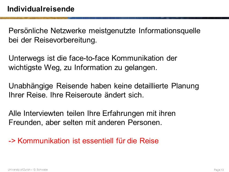 University of Zurich – G. Schwabe Page:13 Individualreisende Persönliche Netzwerke meistgenutzte Informationsquelle bei der Reisevorbereitung. Unterwe