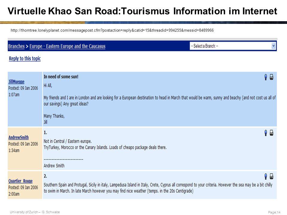 University of Zurich – G. Schwabe Page:14 Virtuelle Khao San Road:Tourismus Information im Internet http://thorntree.lonelyplanet.com/messagepost.cfm?