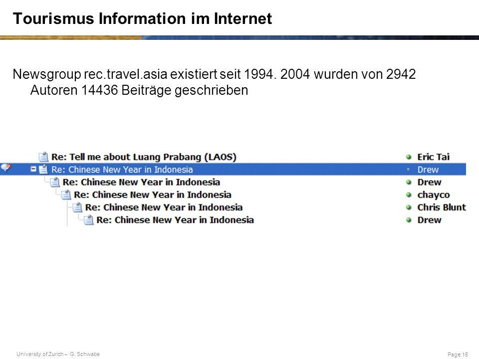 University of Zurich – G. Schwabe Page:15 Tourismus Information im Internet Newsgroup rec.travel.asia existiert seit 1994. 2004 wurden von 2942 Autore