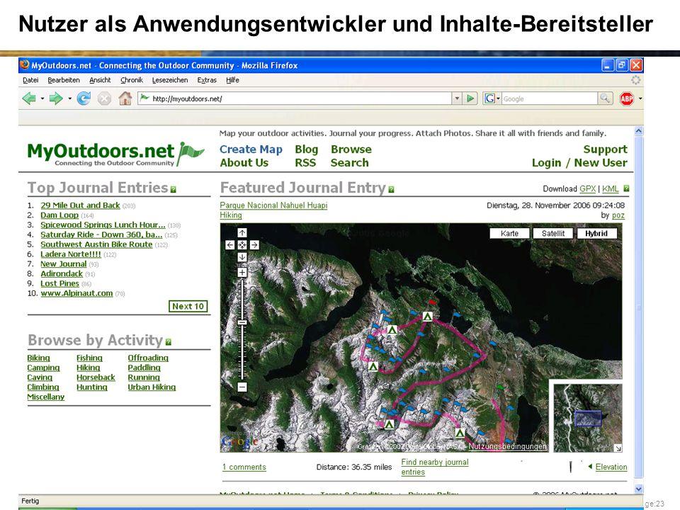 University of Zurich – G. Schwabe Page:23 Nutzer als Anwendungsentwickler und Inhalte-Bereitsteller
