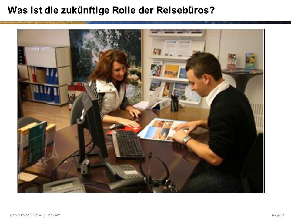 University of Zurich – G. Schwabe Page:24 Was ist die zukünftige Rolle der Reisebüros?