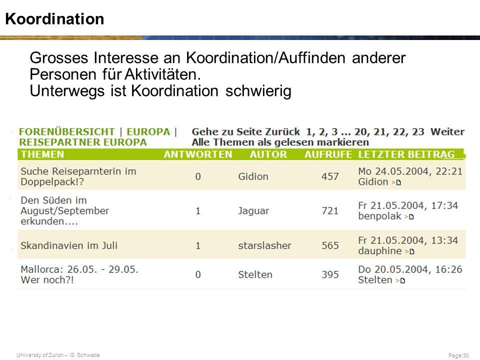 University of Zurich – G. Schwabe Page:30 Koordination Grosses Interesse an Koordination/Auffinden anderer Personen für Aktivitäten. Unterwegs ist Koo