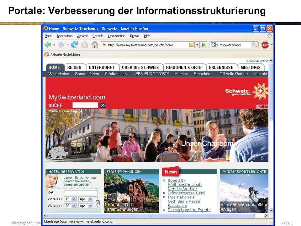University of Zurich – G. Schwabe Page:5 Portale: Verbesserung der Informationsstrukturierung
