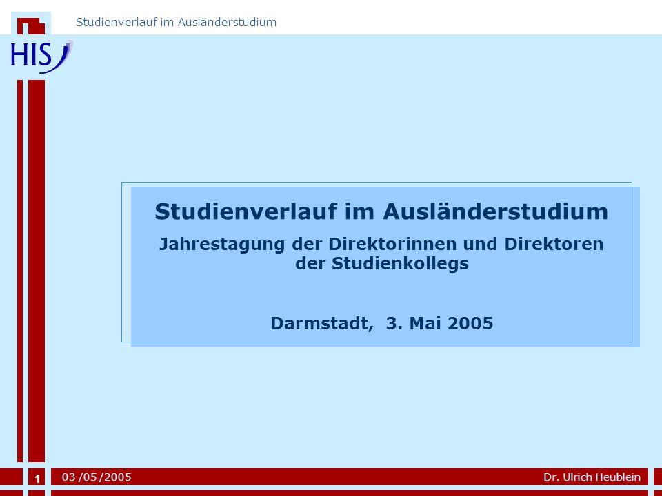 1 Dr. Ulrich Heublein Studienverlauf im Ausländerstudium 03 /05 /2005 1 Studienverlauf im Ausländerstudium Jahrestagung der Direktorinnen und Direktor