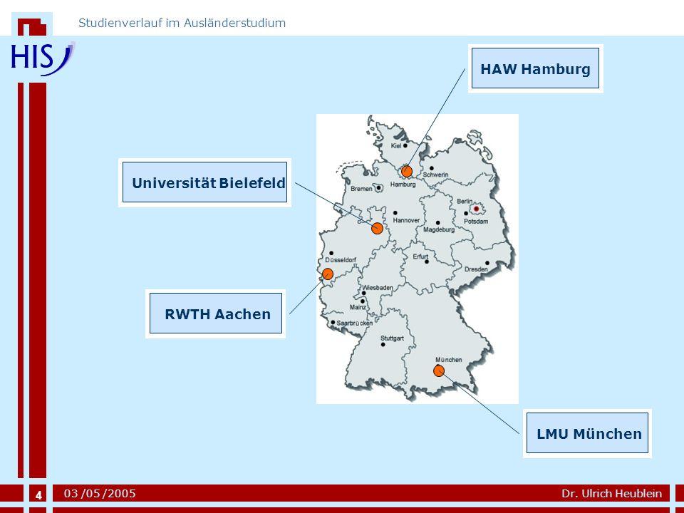 4 Dr. Ulrich Heublein Studienverlauf im Ausländerstudium 03 /05 /2005 LMU MünchenHAW HamburgUniversität BielefeldRWTH Aachen 4