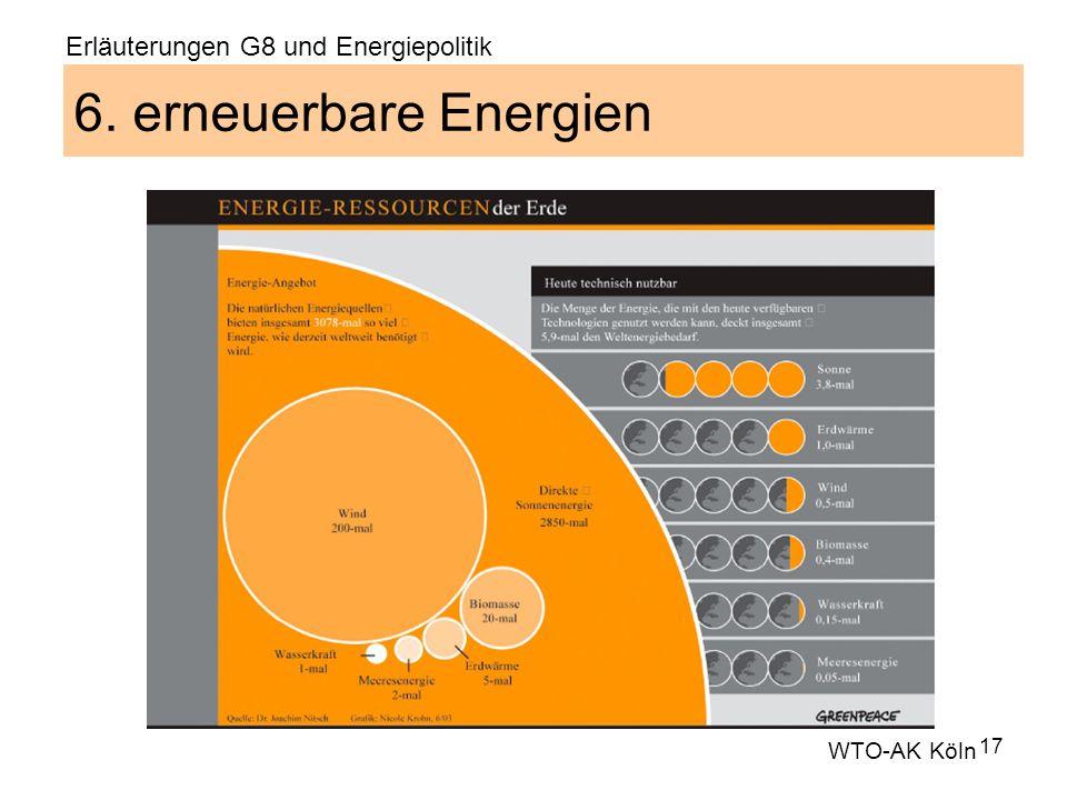 17 6. erneuerbare Energien WTO-AK Köln Erläuterungen G8 und Energiepolitik