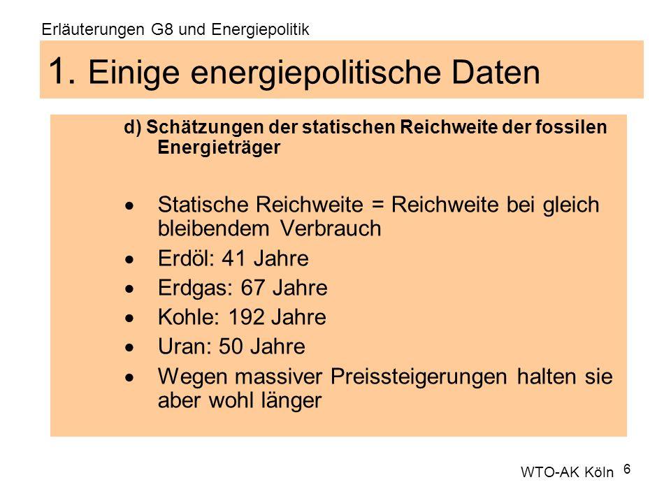 6 1. Einige energiepolitische Daten d) Schätzungen der statischen Reichweite der fossilen Energieträger Statische Reichweite = Reichweite bei gleich b