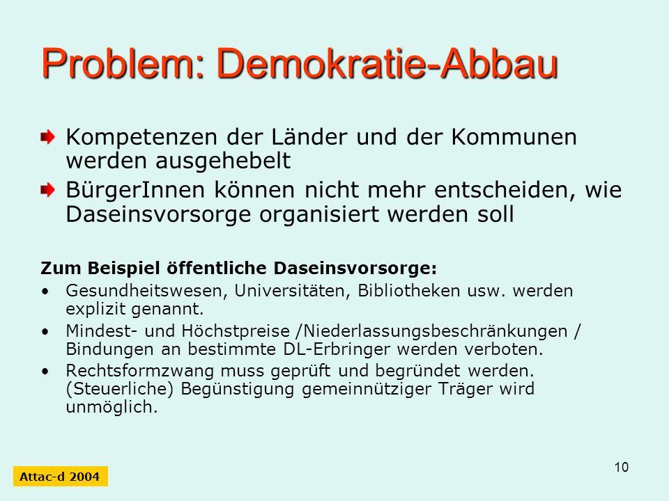 10 Problem: Demokratie-Abbau Kompetenzen der Länder und der Kommunen werden ausgehebelt BürgerInnen können nicht mehr entscheiden, wie Daseinsvorsorge