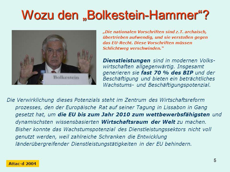 5 Wozu den Bolkestein-Hammer? Die Verwirklichung dieses Potenzials steht im Zentrum des Wirtschaftsreform prozesses, den der Europäische Rat auf seine