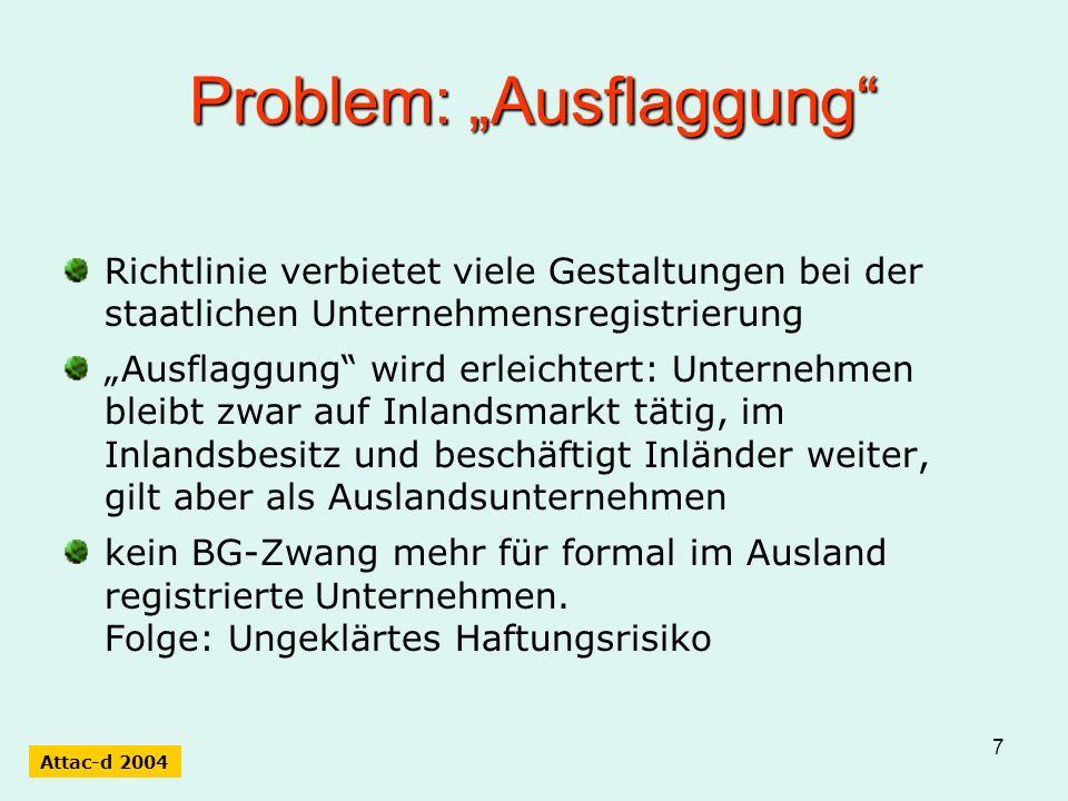 8 Problem: Herkunftslandprinzip Mehrfachregistrierung ohne Hauptsitzzwang wird zulässig.