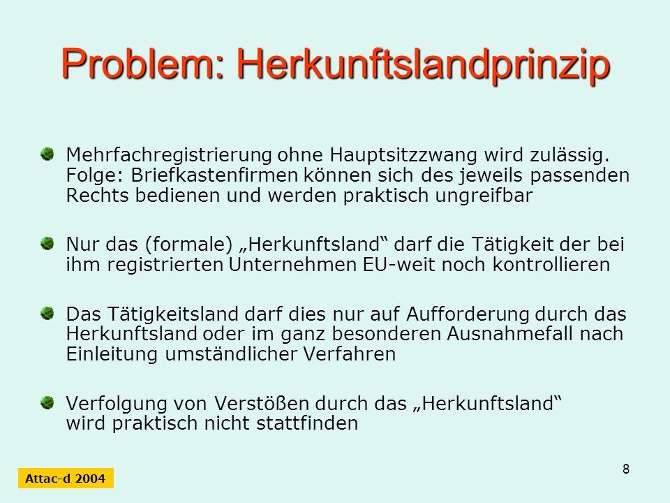 8 Problem: Herkunftslandprinzip Mehrfachregistrierung ohne Hauptsitzzwang wird zulässig. Folge: Briefkastenfirmen können sich des jeweils passenden Re