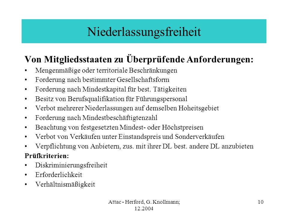 Attac - Herford, G. Knollmann; 12.2004 10 Niederlassungsfreiheit Von Mitgliedsstaaten zu Überprüfende Anforderungen: Mengenmäßige oder territoriale Be