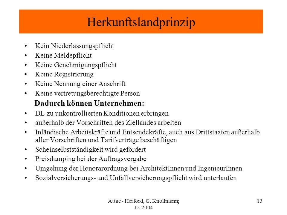 Attac - Herford, G. Knollmann; 12.2004 13 Herkunftslandprinzip Kein Niederlassungspflicht Keine Meldepflicht Keine Genehmigungspflicht Keine Registrie