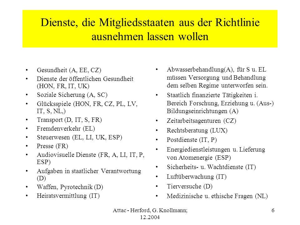 Attac - Herford, G. Knollmann; 12.2004 6 Dienste, die Mitgliedsstaaten aus der Richtlinie ausnehmen lassen wollen Gesundheit (A, EE, CZ) Dienste der ö