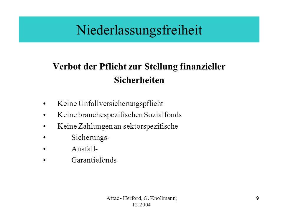 Attac - Herford, G. Knollmann; 12.2004 9 Niederlassungsfreiheit Verbot der Pflicht zur Stellung finanzieller Sicherheiten Keine Unfallversicherungspfl