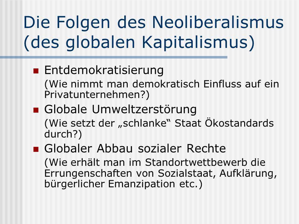 Die Folgen des Neoliberalismus (des globalen Kapitalismus) Entdemokratisierung (Wie nimmt man demokratisch Einfluss auf ein Privatunternehmen?) Globale Umweltzerstörung (Wie setzt der schlanke Staat Ökostandards durch?) Globaler Abbau sozialer Rechte (Wie erhält man im Standortwettbewerb die Errungenschaften von Sozialstaat, Aufklärung, bürgerlicher Emanzipation etc.)